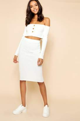 boohoo Rib Knit Button Front Skirt And Bardot Set
