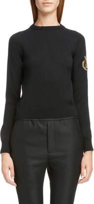 Saint Laurent Crown Logo Patch Wool Sweater