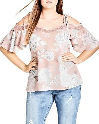 City Chic Plus Whimsy Lace Inset Floral Top