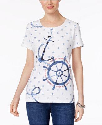 Karen Scott Nautical-Print Cotton T-Shirt, Created for Macy's $32.50 thestylecure.com