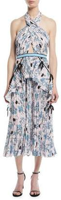 Self-Portrait Cross-Front Pleated Floral Halter Dress