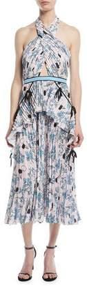 Self-Portrait Cross-Front Pleated Floral Halter Dress