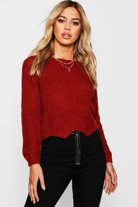 boohoo Petite Cropped Fisherman Knit Jumper