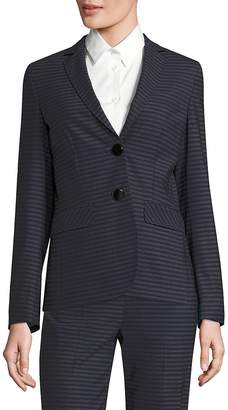 Piazza Sempione Women's Striped Notch Lapel Blazer