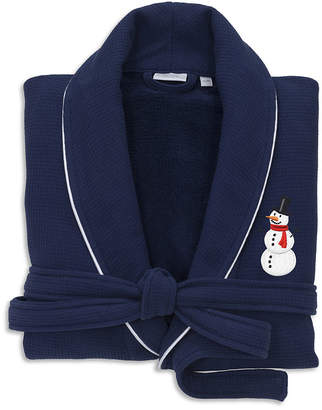 Asstd National Brand Linum Home Hotel 100% Turkish Cotton Waffle TerryEmbroidered Bathrobe with Satin Piped Trim - Snowman