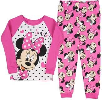AME Sleepwear AME Disney Minnie Mouse Little Girls Long Sleeve Cotton Pajama Set