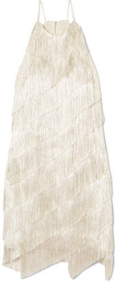 Halston Tiered Fringed Satin-crepe Mini Dress - Cream
