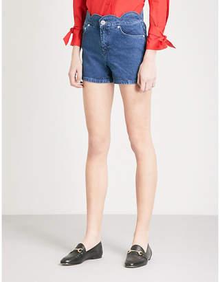 Maje Shaft mid-rise denim shorts