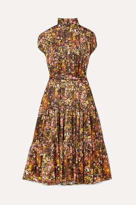 Co Pleated Floral-print Silk-satin Midi Dress - Yellow
