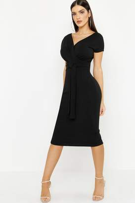 boohoo Off The Shoulder Wrap Midi Dress