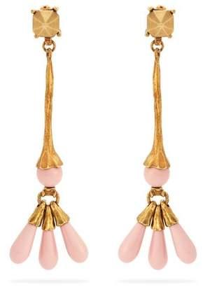Valentino Long Bead Drop Earrings - Womens - Pink