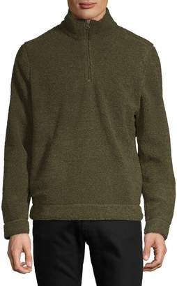 Black Brown 1826 Faux Shearling Zip-Up Sweater