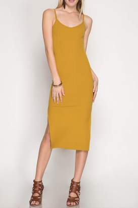 She + Sky Midi-Ribbed Bodycon Dress