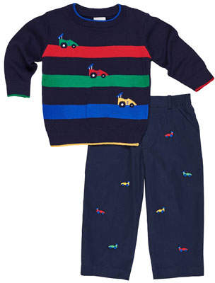 Florence Eiseman Race Car Stripe Sweater w/ Embroidered Twill Pants, Size 2-5