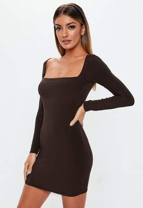 Missguided Brown Double Layer Slinky Wide Neck Mini Dress