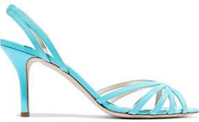 Oscar de la Renta Cutout Patent-leather Slingback Sandals