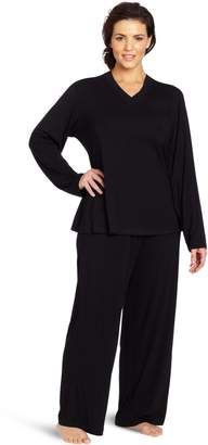 Casual Moments Women's Plus-Size Pajama V-Neck Set