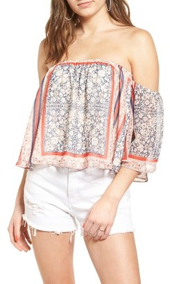 Women's Socialite Print Off The Shoulder Top $35 thestylecure.com
