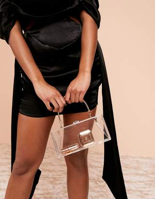 clear ASOS DESIGN plastic clutch with metal handle