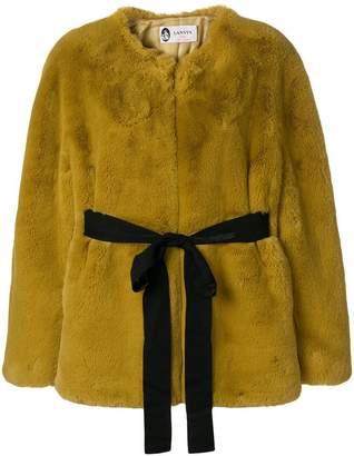 Lanvin faux fur open front coat