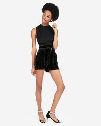 Express Super High Waisted Velvet Sash Waist Shorts