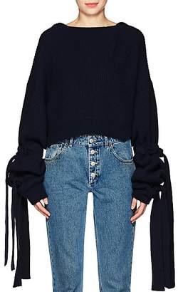 Stella McCartney Women's Cashmere-Wool Crop Hooded Sweater - Ink