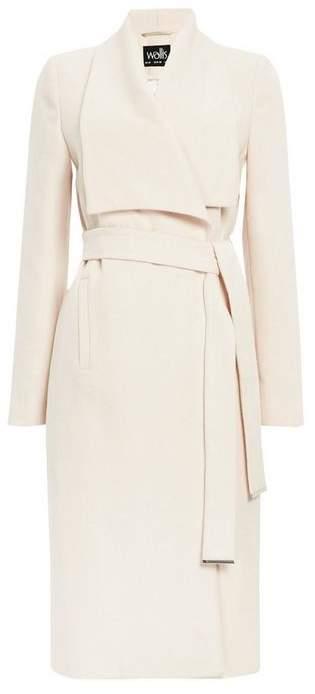 Cream Drape Collar Coat