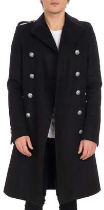 Balmain Men's Manteau Croise Long Double-Breasted Coat