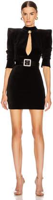 Balmain High Neck Velvet Dress in Black | FWRD