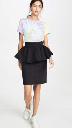 MSGM Denim Peplum Skirt