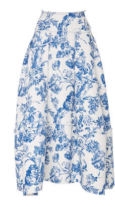 Oscar de la Renta Raw Hem Floral Stretch-Cotton Midi Skirt