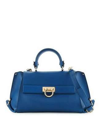 Salvatore Ferragamo Sofia Medium Leather Satchel Bag, Pacific $2,250 thestylecure.com