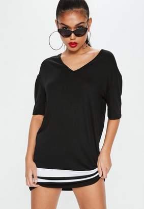Missguided Black Stripe V Neck T-shirt Dress