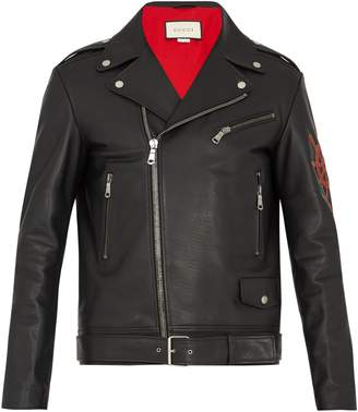 Gucci Blind for Love-appliqué leather jacket