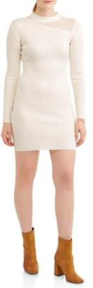 Almost Famous Juniors' Ribbed Mock Neck Dress with Mesh Insert