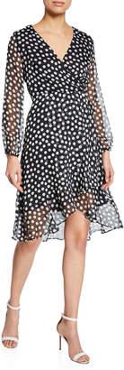Neiman Marcus Flounce Polka Dot A-Line Dress