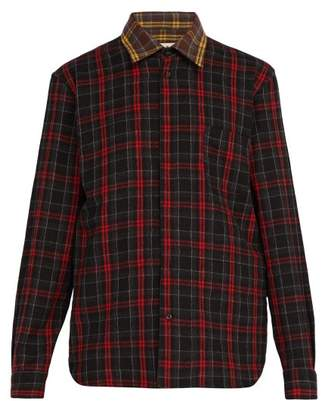 Marni Checked Wool Flannel Shirt - Mens - Black Brown