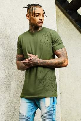 boohoo Dele Longline Distressed T-Shirt
