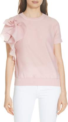 Ted Baker Anabane Asymmetrical Ruffle Silk Cotton Top