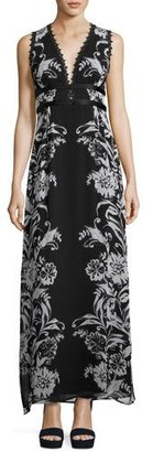 Nanette Lepore Sleeveless Floral Silk Maxi Dress, Black/Blue $648 thestylecure.com