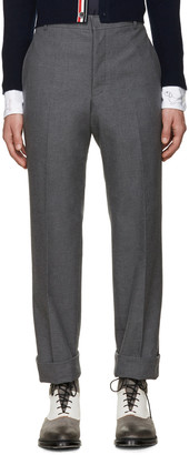 Thom Browne Grey Uncuffed Trousers $750 thestylecure.com