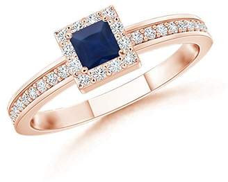 Angara.com September Birthstone - Square Blue Sapphire Stackable Ring with Diamond Halo in 14K Rose Gold (3mm Blue Sapphire)