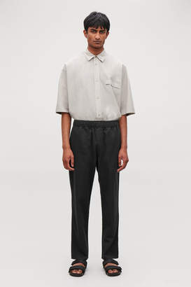 Cos COTTON-LINEN ELASTICATED TROUSERS