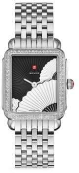Michele Deco II Fan 16 Diamond& Stainless Steel Bracelet Watch