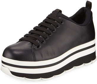 Prada Leather Platform Low-Top Sneakers