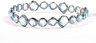 "Ippolita 925 Sterling Silver Black Rhodium Blue Topaz Diamond "" Mini Hero"" Bangle Bracelet"
