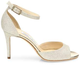 Jimmy Choo Annie Glitter d'Orsay Ankle-Strap Sandals