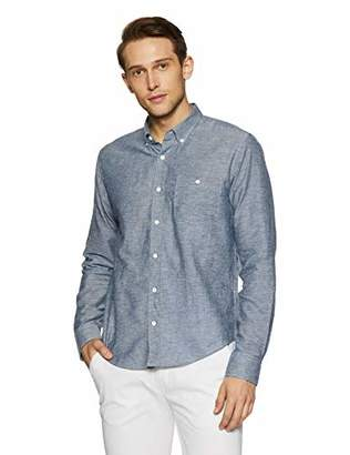 Casual Terrains Men's Tailored Slim-Fit Long-Sleeves Vintage Style Buttoned Pocket Shirt