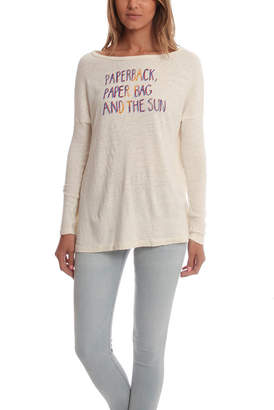 Warehouse Via Spare Long Sleeve Scoop Top