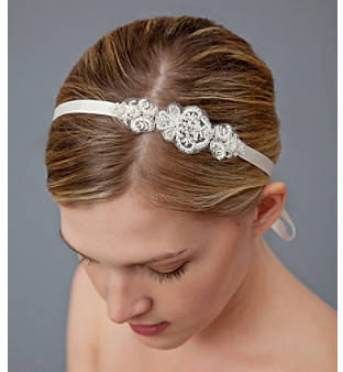 Nina Bridal Cayleen Embroidered Crystal Ribbon Headwrap - Ivory